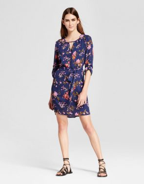 photo Floral Long Sleeve Keyhole Tie Waist Dress by Eclair, color Multi - Image 1