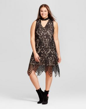 photo Plus Size Mock Neck Cutout Lace Dress by Xhilaration, color Black - Image 1
