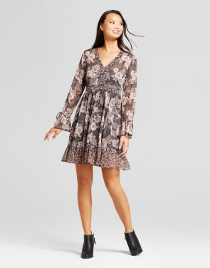 photo Lurex Print Tie Sleeve Dress by Knox Rose, color Print - Image 1