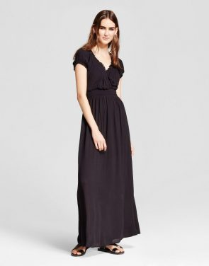 photo Short Sleeve Maxi Dress by R+j Couture, color Black - Image 1