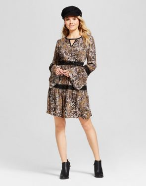 photo Velvet Trim Printed Dress by Knox Rose, color Multi - Image 1