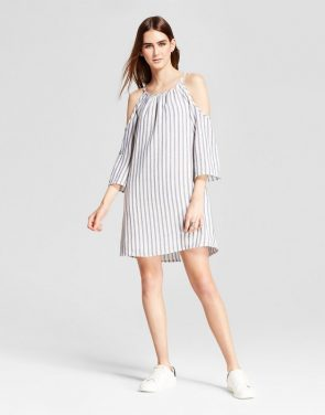 photo Cold Shoulder Striped Shift Dress by Eclair, color White/Blue - Image 1