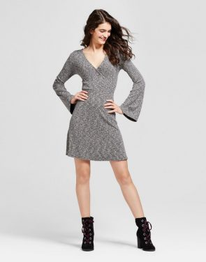 photo Long Sleeve Knit Surplice Dress by Mossimo Supply Co., color Black - Image 1
