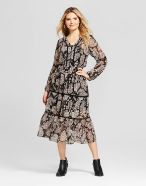 photo Printed Button Front Midi Dress by Knox Rose, color Multi - Image 1