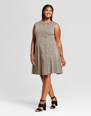 photo Plus Size Jacquard Houndstooth Fit and Flare Dress by Melonie T, color Black/Tan - Image 1