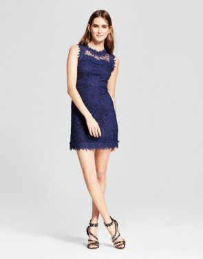 photo Sleeveless Lace Dress by R+j Couture, color Navy - Image 1