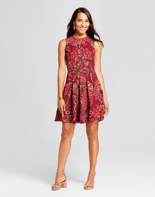 photo Fit and Flare Printed Scuba Crepe Dress by Spenser Jeremy, color Red Combo - Image 1