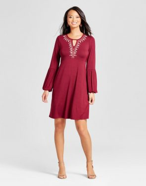 photo Embroidered Long Sleeve V-Neck Knit Dress by Spenser Jeremy, color Wine Red - Image 1