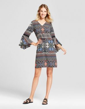 photo Mixed Printed Long Sleeve Fit and Flare Dress by Chiasso, color Black Combo - Image 1