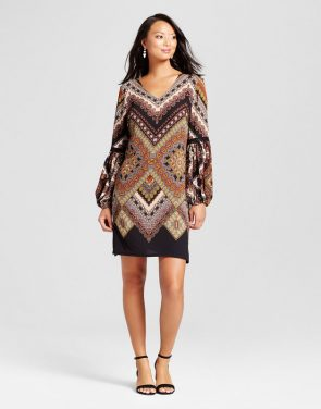 photo Printed Balloon Sleeve Dress with Crochet Detail by Chiasso, color Black Combo/Brown - Image 1
