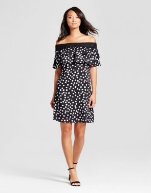 photo Dot Printed Off the Shoulder Dress with Crochet Hem by Chiasso, color Black & White - Image 1