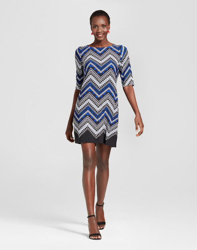 photo Printed Scoop Neck Elbow Sleeve Knit Dress by Studio One, color Black/Blue - Image 1