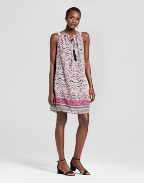 photo Halter Neck Printed Tank Dress with Tassels by Studio One, color Pink Black - Image 1