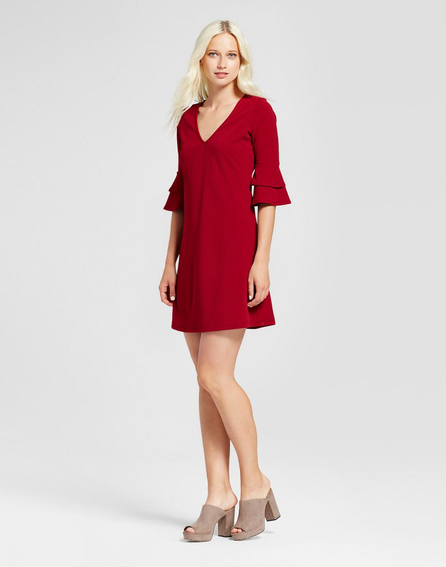photo 3/4 Sleeve V-Neck Ruffle Bell Sleeve Dress by Vanity Room, color Red - Image 1
