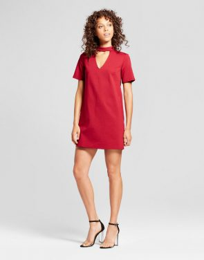 photo Choker Neck Knit Dress by Vanity Room, color Red - Image 1
