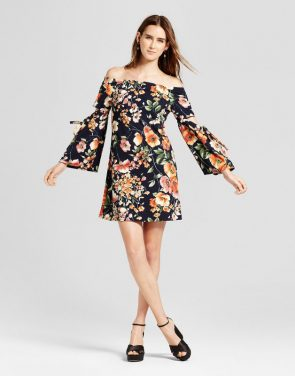 photo Floral Woven Off the Shoulder Dress with Cutout by Vanity Room, color Multi - Image 1