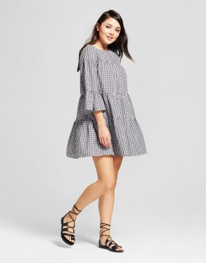 photo Gingham Layered Shift Dress by K by Kersh, color Black/White - Image 1