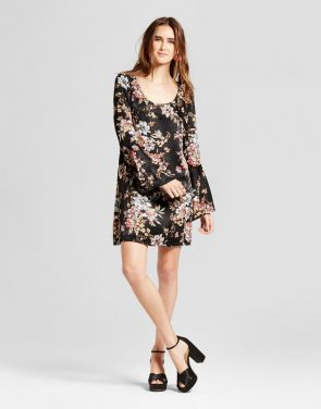 photo Floral Woven Bell Sleeve Printed Dress by Vanity Room, color Multi - Image 1