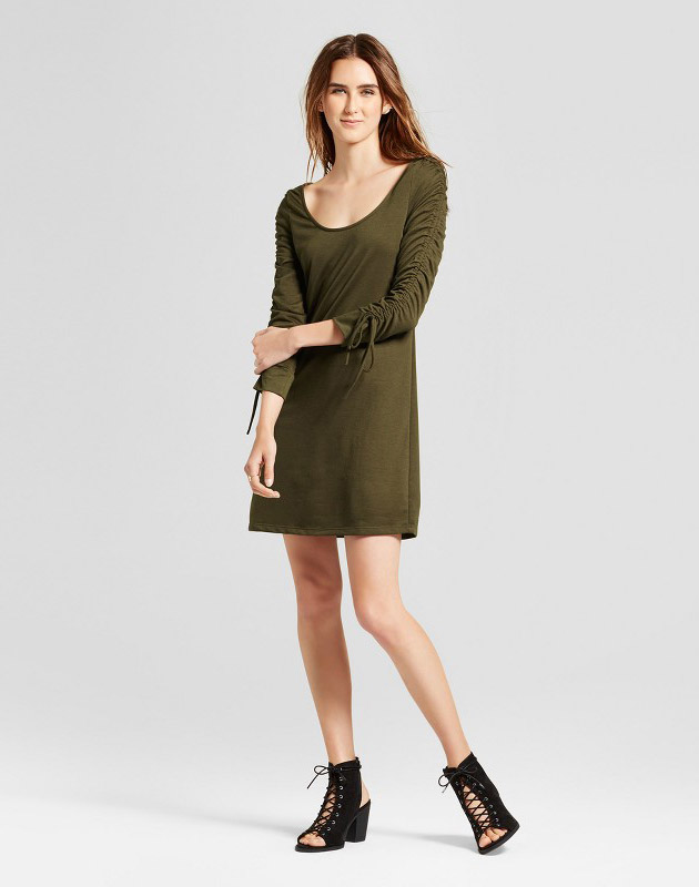 photo Ruched Sleeve French Terry Dress by Vanity Room, color Olive Green - Image 1