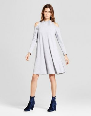 photo French Terry Cold Shoulder Swing Dress by Vanity Room, color Heather Grey - Image 1