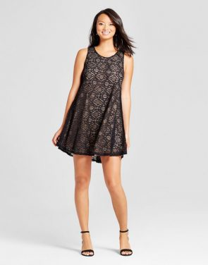 photo Lace Trapeze Tank Dress by Zac & Rachel, color Black/Nude - Image 1