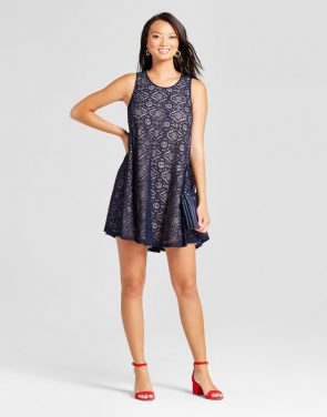 photo Lace Trapeze Tank Dress by Zac & Rachel, color Navy/Nude - Image 1