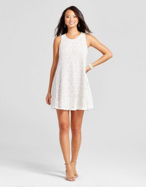 photo Lace Trapeze Tank Dress by Zac & Rachel, color Ivory/Nude - Image 1
