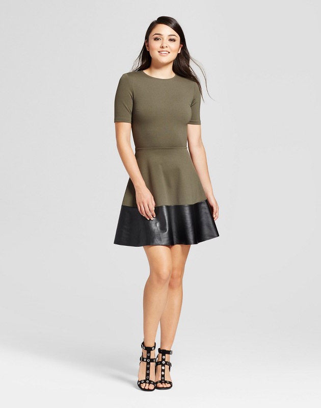 photo Ponte and Pleather Fit & Flare Dress by Necessary Objects, color Olive Green - Image 1