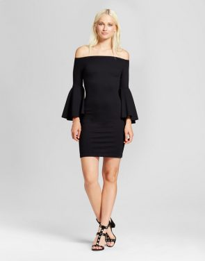 photo Bell Sleeve Ponte Dress by Necessary Objects, color Black - Image 1
