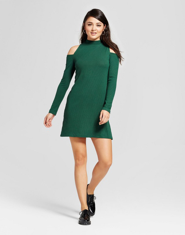 photo Cold Shoulder Knit Ribbed Dress by Necessary Objects, color Green - Image 1