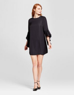 photo Bell Sleeve Shift Dress by Who What Wear, color Black - Image 1