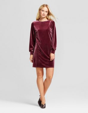 photo Velvet Mini Dress by Who What Wear, color Burgundy - Image 1