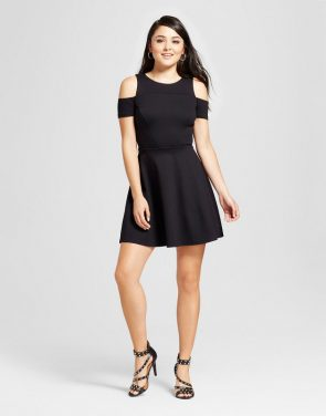 photo Cold Shoulder Ponte Dress by Necessary Objects, color Black - Image 1