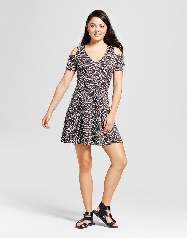photo Printed Cold Shoulder Jacquard Dress by Necessary Objects, color Multi - Image 1