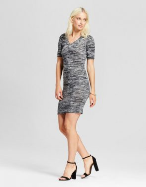 photo V-Neck Heather Knit Dress by Necessary Objects, color Heather Grey - Image 1