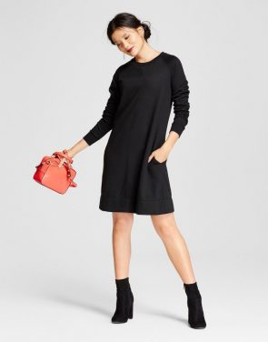 photo Fleece Swing Dress by A New Day, color Black - Image 1
