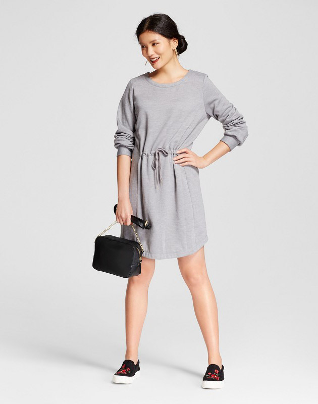 photo Fleece Tie Waist Dress by A New Day, color Grey - Image 1