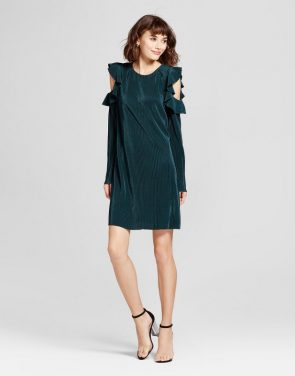 photo Ruffle Cold Shoulder Sheath Dress by Mossimo, color Teal - Image 1