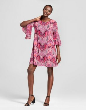 photo Printed Knit with Chiffon Sleeve Dress by Studio One, color Pink/Navy - Image 1