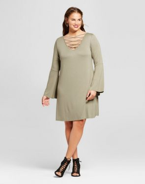 photo Plus Size Bell-Sleeve Swing Dress by No Comment, color Pink - Image 1