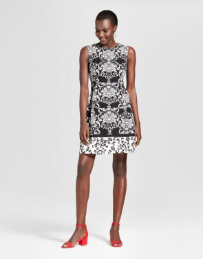 photo Printed Fit and Flare Scuba Crepe Dress by Studio One, color Black/Ivory - Image 1