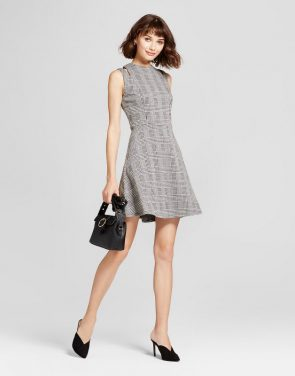photo Shoulder Cut Out Fit & Flare Dress by Mossimo, color Grey - Image 1