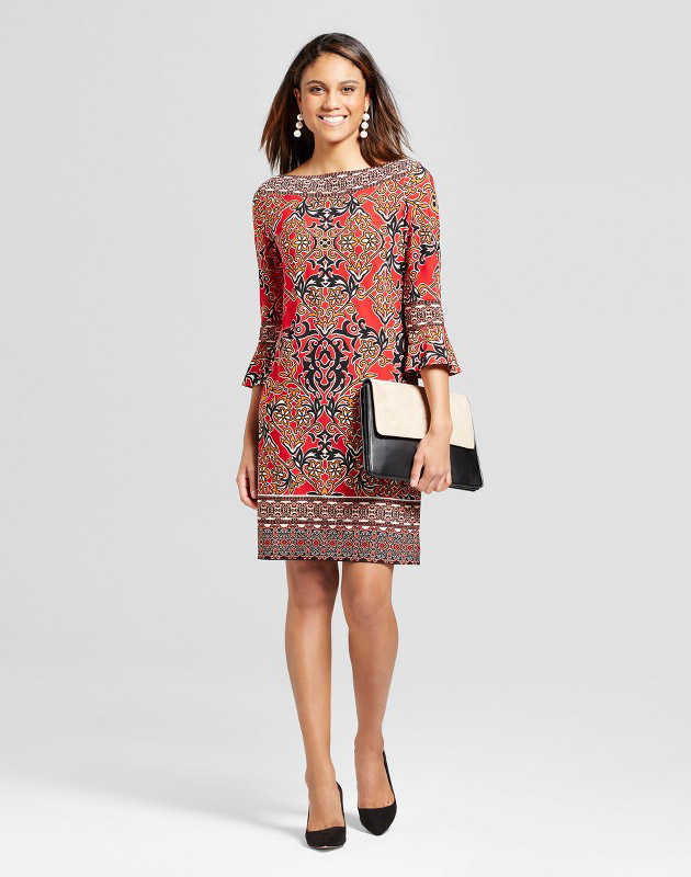 photo Knit 3/4 Bell Sleeve Printed Dress by Studio One, color Black Red - Image 1