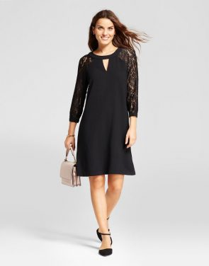 photo Keyhole Neck Lace Sleeve Shift Dress by Studio One, color Black - Image 1
