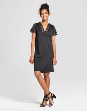 photo V-Neck Shift Dress with Cut Out Trim by Alison Andrews, color Black - Image 1