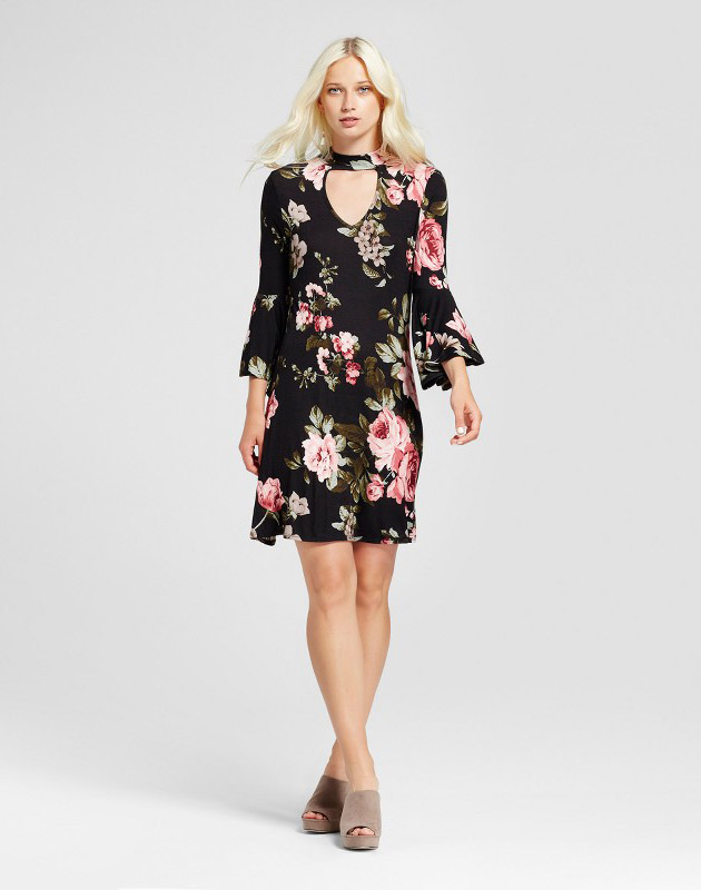 photo 3/4 Sleeve Floral Bell Sleeve Mock Neck Swing Dress by Alison Andrews, color Black - Image 1