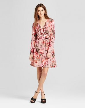 photo Floral V-Neck Ruffle Tie Waist Dress by Alison Andrews, color Pink - Image 1