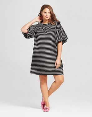 photo Plus Size Puff Sleeve T-Shirt Dress by Who What Wear, color Black Stripe - Image 1