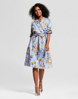 photo Wrap Dress by Who What Wear, color Blue Floral - Image 1