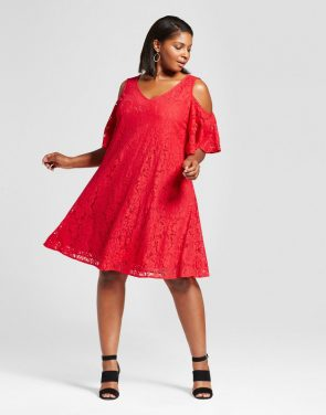 photo Plus Size Lace Cold Shoulder Dress by Melonie T, color Red - Image 1